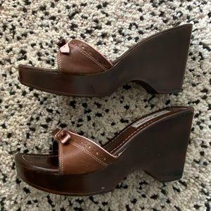 Vintage Steve Madden platform wedge slide sandals